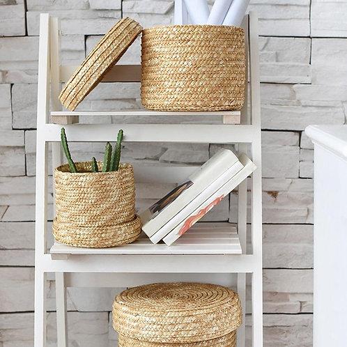 3 Pcs/Set Handmade Straw Woven Storage Basket With Lid