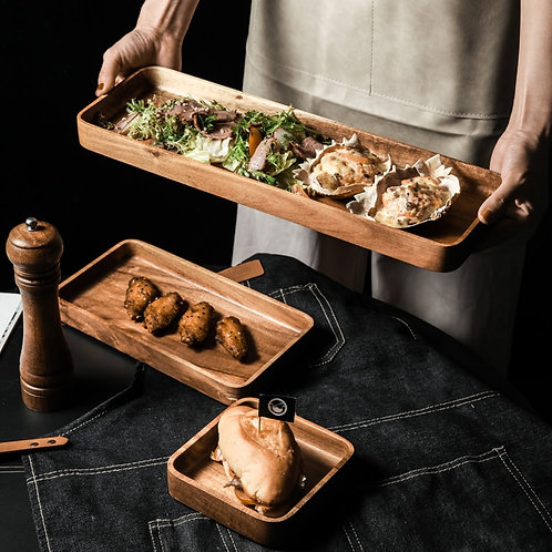 Acacia Wood Serving Trays With Easy Carry Grooved Handle