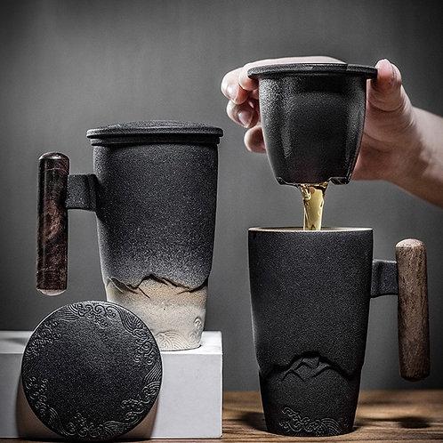 Luxury Retro Tea Mug Large Capacity With Filter & Cover