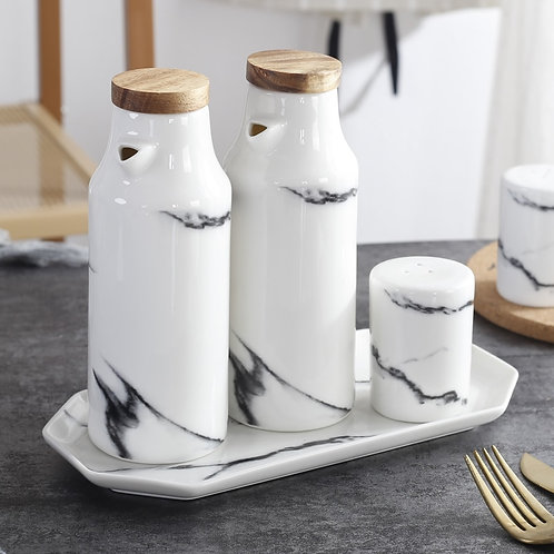 Marble Ceramic Oil, Vinegar, Salt & Pepper set 5pc