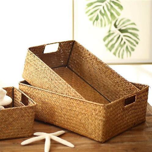 Grass Woven Rectangular Storage Basket