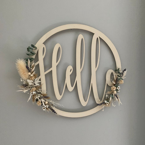 Hello Dried Flower Signs