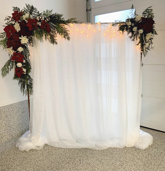 Copper Arch with Lights, Fabric and Florals