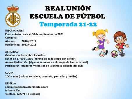 En marcha las inscripciones para la Escuela de Fútbol del Real Unión de la temporada 2021/22