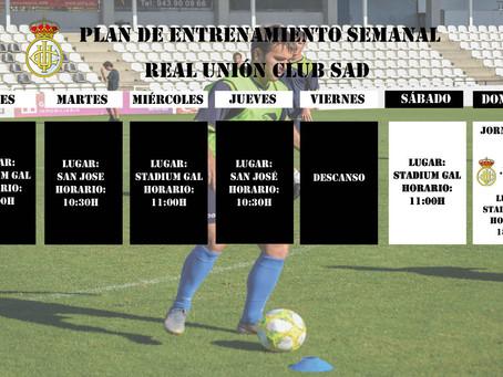 Plan de entrenamiento semanal del primer equipo