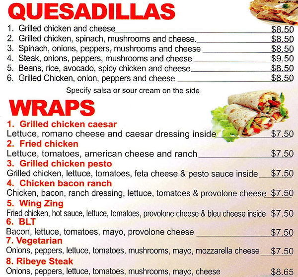 quesadillas, wraps