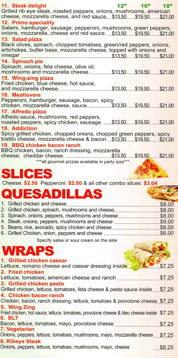 pizza descriptions and prices
