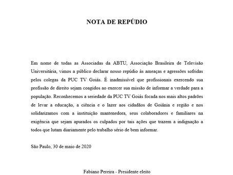 ABTU e ATEI lançam notas de repúdio contra agressões a PUC TV GOIÁS