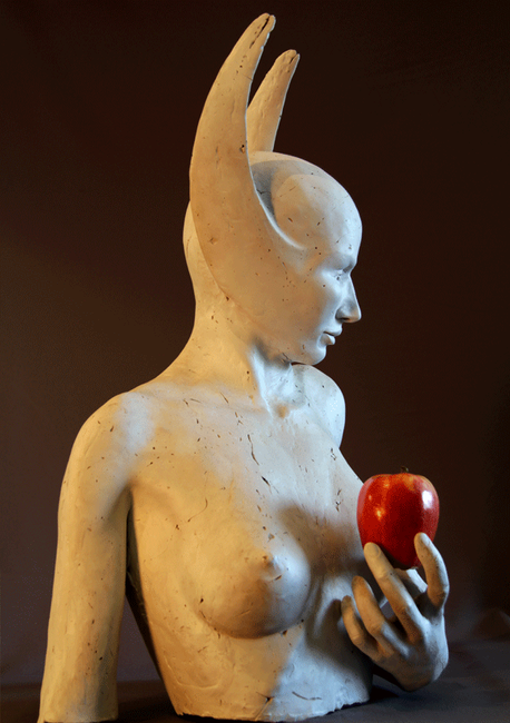 Apple Is life size and was cast in resin. She was created from images and experiences from meditation.  A source of insperation for her features was from sculptor Myron Conan Dyal.