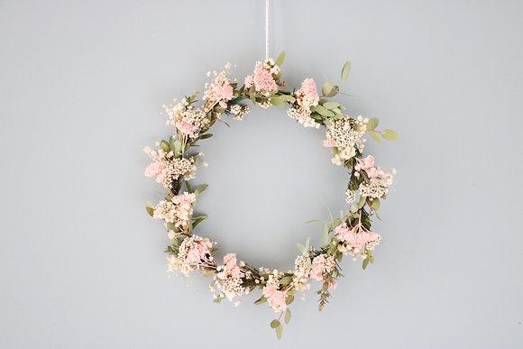 Petite Couronne de Fleurs séchées Achilée rose