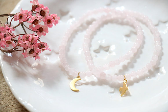 Bracelet Quartz Rose Lune ou Colombe