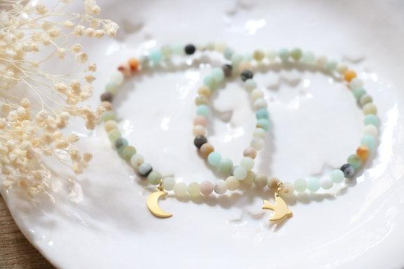 Bracelet Pierres Naturelles Lune ou Colombe