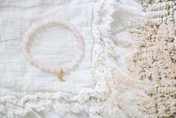 Bracelet Lune Quartz Rose
