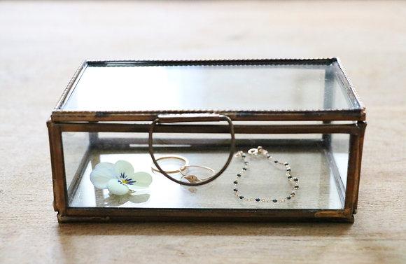 Boîte à Bijoux Métal Perlé et Verre