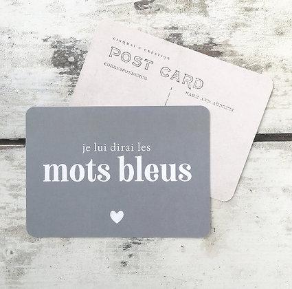 Carte Postale Les Mots bleus
