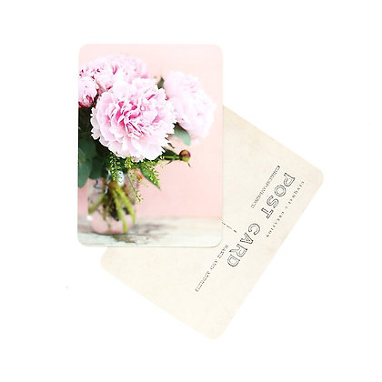 Carte Postale Pivoines Rose et Pêche