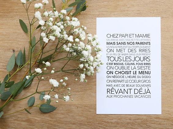 Carte Postale Chez Papi et Mamie
