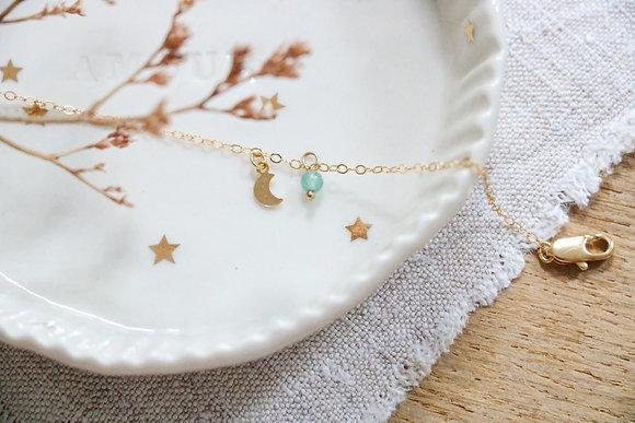 Bracelet Plaqué Or Lune Aventurine
