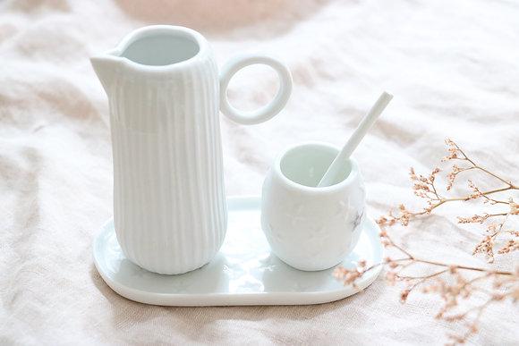 Petit Plateau Crémier Sucrier Porcelaine