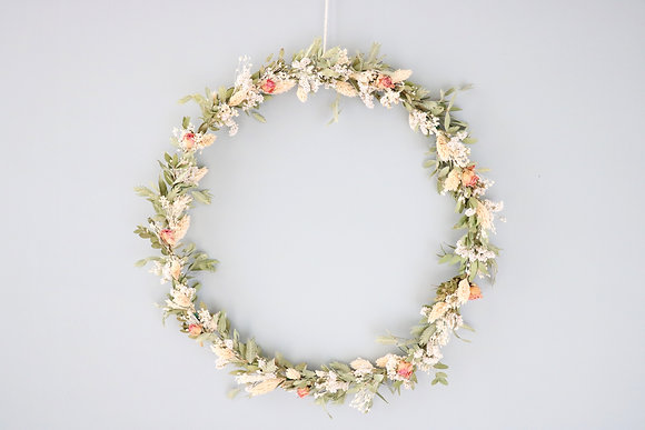 Grande Couronne de Fleurs séchées Rose Ancienne