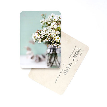 Carte Postale Flowers White and Mint