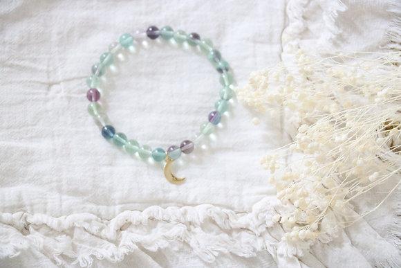 Bracelet Lune Fluorite Arc en Ciel