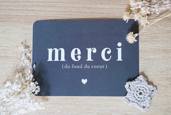 Carte Postale Merci du fond du coeur