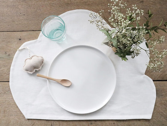 Set de Table Nuage Lin Enduit Blanc