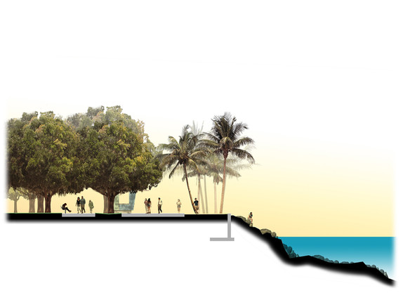 Rendered perspective of the Park along the Baywalk