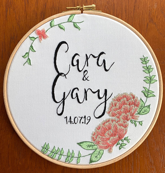 Wedding & Anniversary Embroidery Hoop