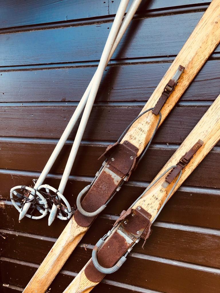 Vintage wooden skis
