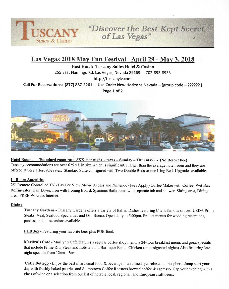 newhorizonsnevada Tuscany Hotel Information