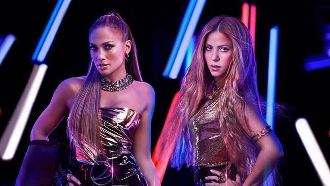 Shakira y JLo en el medio tiempo del Super Bowl