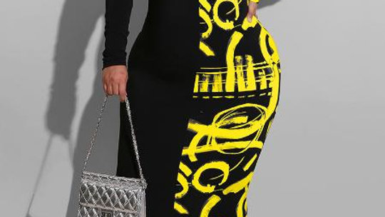 Full Figure Print Dress