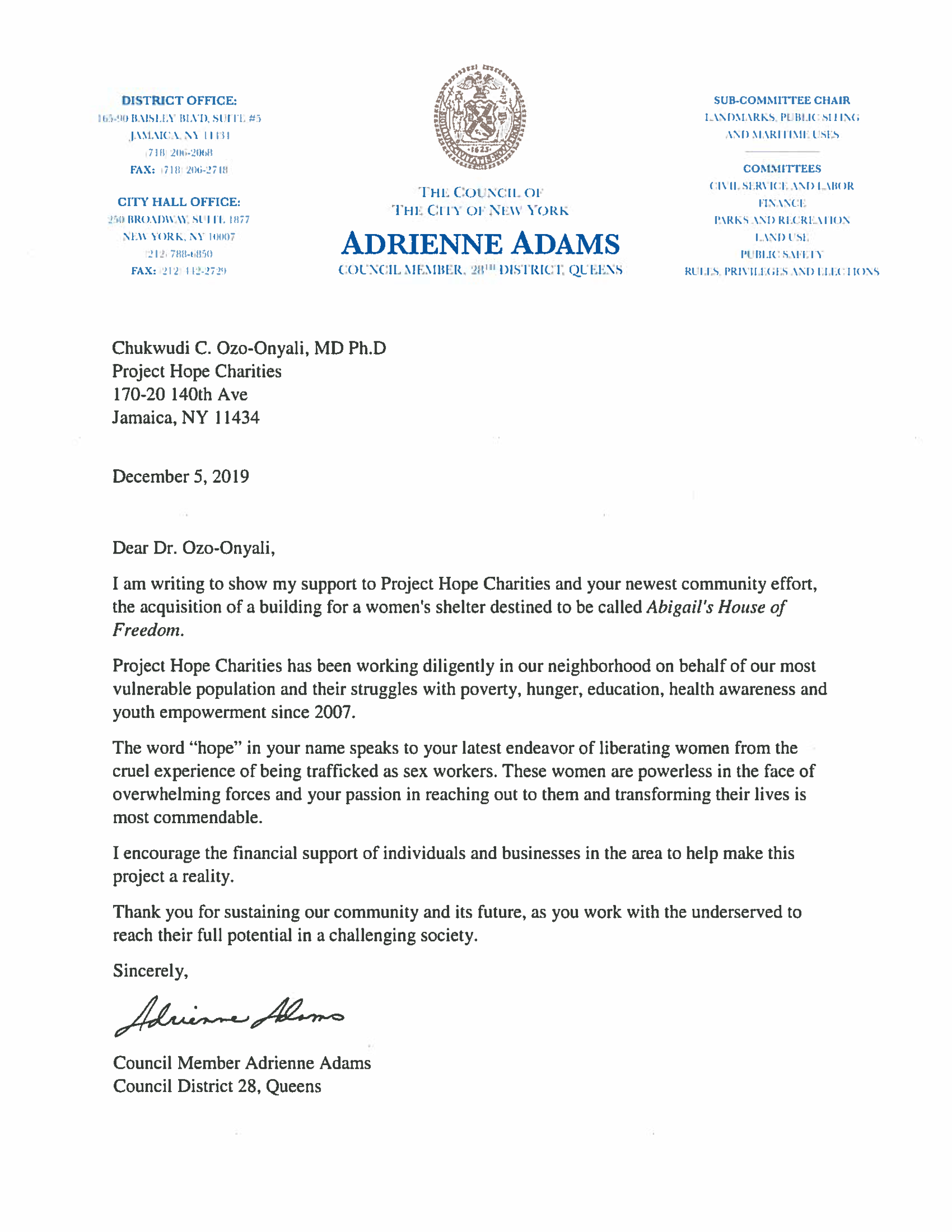 Project Hope_Letter of Support Adams