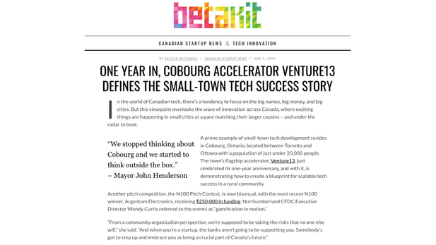 One Year in, Cobourg Accelerator Venture13 Defines the Small-Town Tech Success Story
