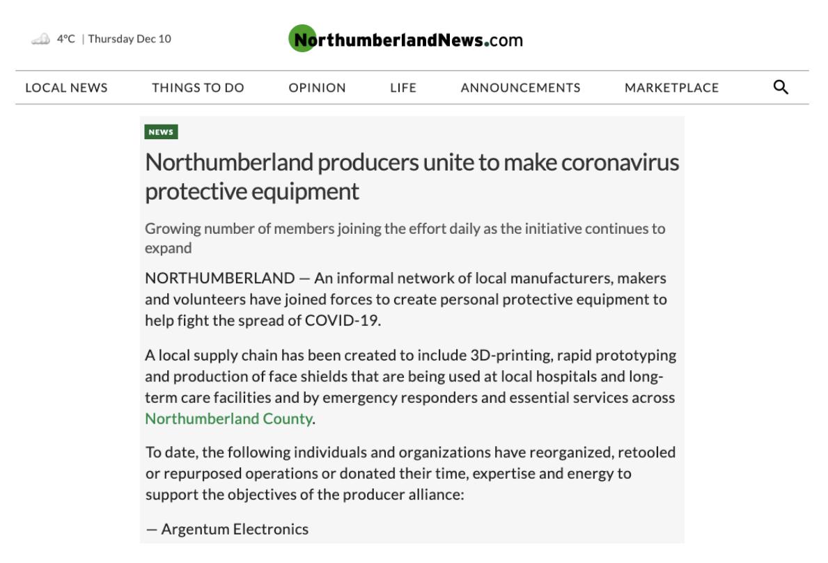 Northumberland Producers Unite to Make Coronavirus Protective Equipment