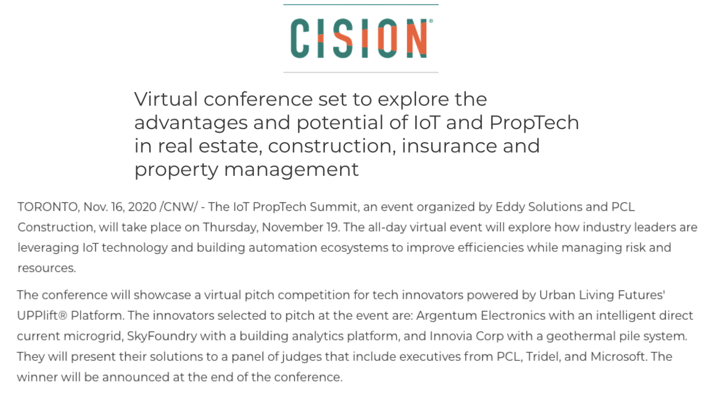 Virtual Conference Set to Explore the Advantages and Potential of IoT and PropTech in Real Estate, Construction, Insurance and Property Management