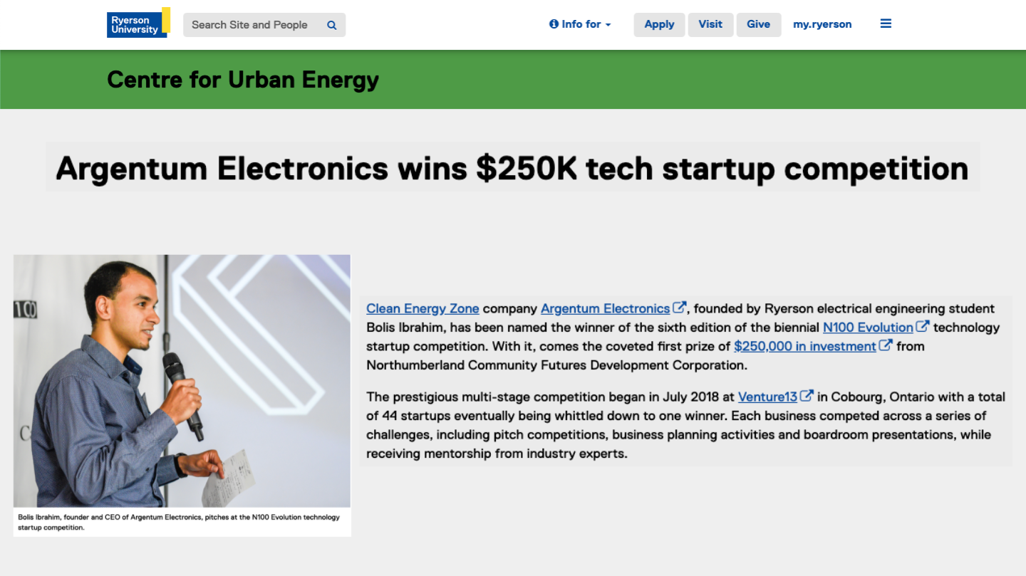 Argentum Electronics Wins $250K Tech Startup Competition