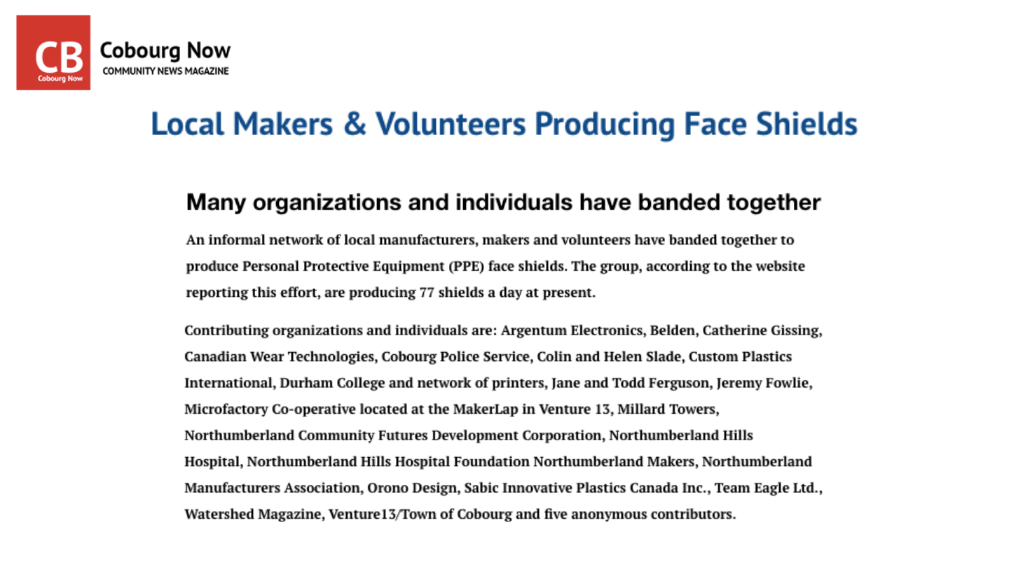 Local Makers & Volunteers Producing Face Shields