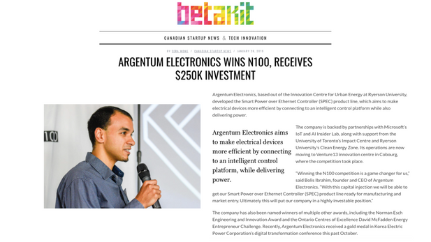 Argentum Electronics Wins N100, Receives $250K Investment