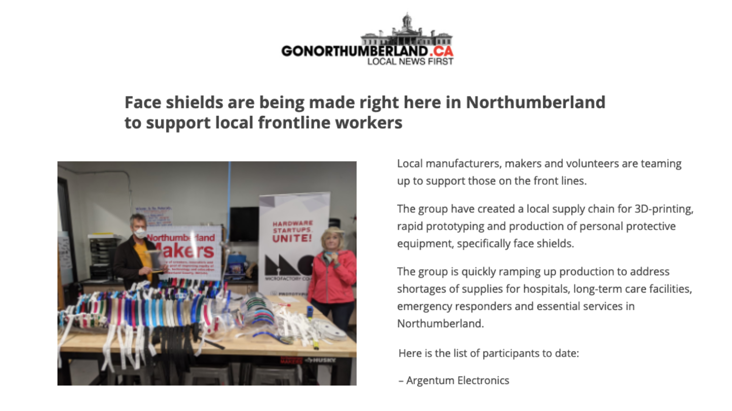 Face Shields are Being Made Right Here in Northumberland to Support Local Frontline Workers