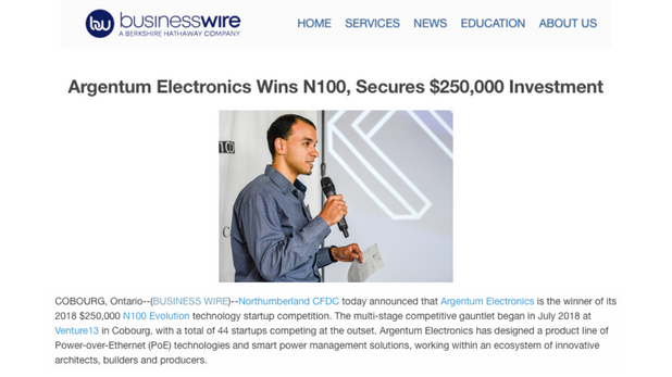 Argentum Electronics Wins N100, Secures $250,000 Investment