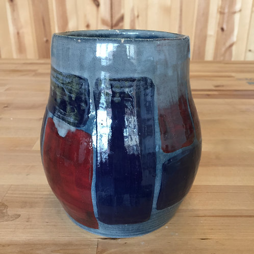 Blue and Red Stoneware Crock