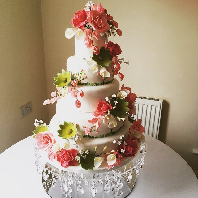 floral wedding cake with sugar flowers