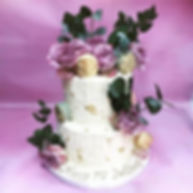 two tier modern floral, gold leaf and ma