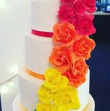 Mrs & Mrs Rainbow wedding cake