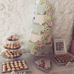 five tier wedding cake with flowers