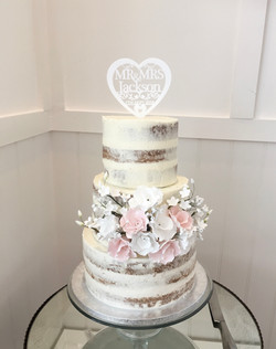 semi naked wedding cake Brighton