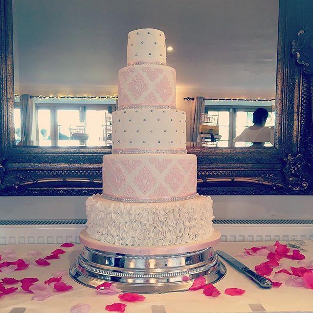5 tier wedding cake, damask wedding cake, pink and white wedding cake, Tottington Manor wedding cake, ruffle wedding cake, white and pink cake, tall wedding cake, luxury wedding cake, patterned wedding cake, quilted wedding cake, elegant wedding cake, tall wedding cake